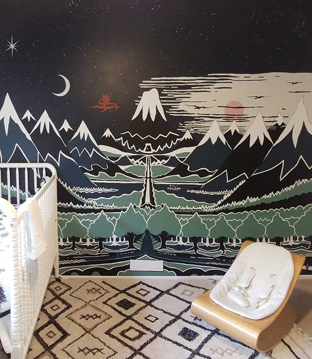 We've been secretly working on a personal project for a while... our nursery! Baby Hickey will be joining us this fall.  Here's a sneak peek of the mural we painted: our adaptation of the cover art JRR Tolkein painted for his first edition of The Hobbit.  We still have some finishing touches to complete the space, but we already love spending time in here, including #MadraOHair who pops in frequently for an afternoon nap on the @lorenacanalsrugs (see pic 2 😊). . #vestainteriors #vestaprojects #mural #nursery #projectnursery #nurserydesign #nurseryinspo #nurseryideas #playroomdecor #childrensdesign #childrensdecor #nurserydecor #nurserystyling #hobbitmural #theshire #tolkeinmural #thehobbit #jrrtolkein #thereandbackagain #middleearth #middleearthmural