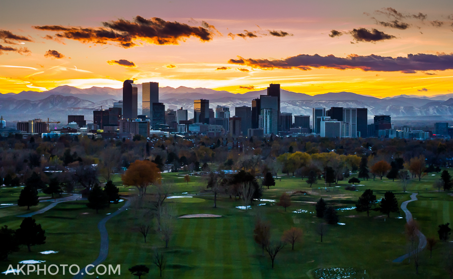 Denver Sky Line from City Park - Aerial Photo