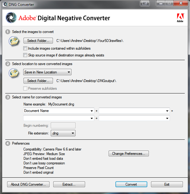 Screenshot: Use Adobe's DNG Converter to Convert 5D3 RAW Files