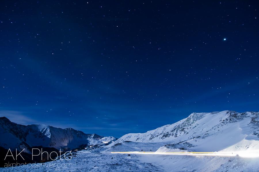 Jupiter lingeringabove Loveland Pass (astrophotography by Andrew Kowalyshyn, AKPHOTO)