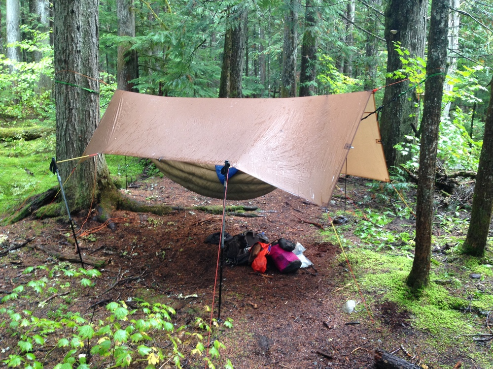 Rectangular 8'x12' Exzo tarp keeping things dry in North Cascades National Park