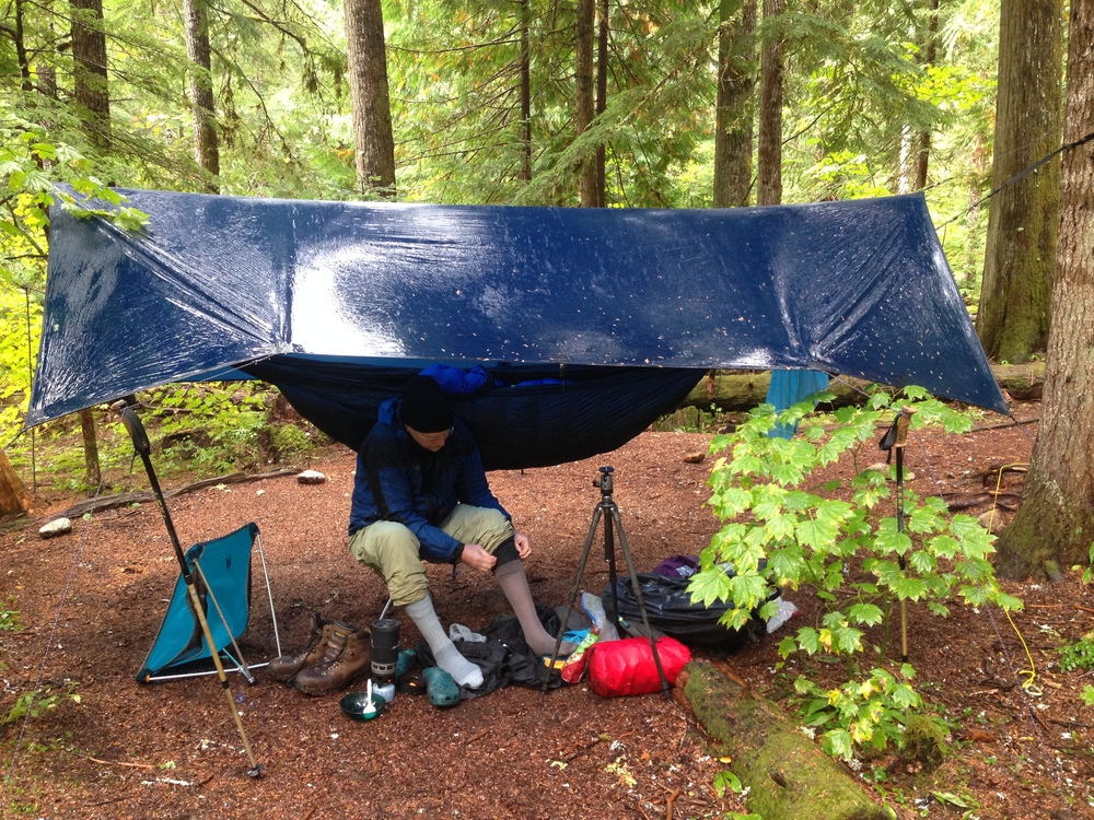 A picture is worth a thousand words: livable space under an Exzo tarp.
