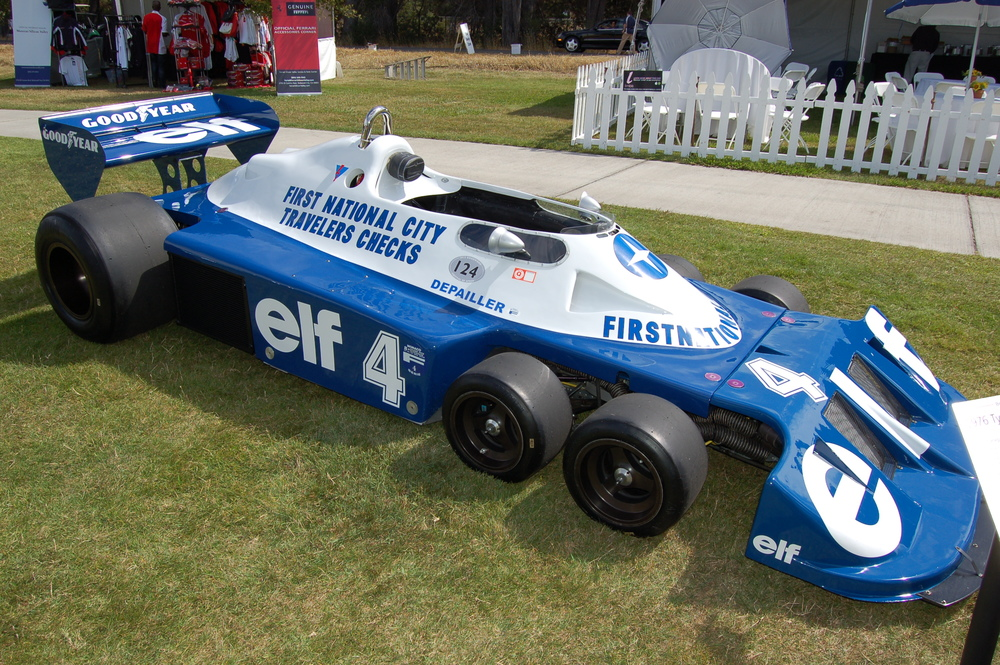 A 1976 Tyrrell P34 driven by Patrick Depailler. It somehow managed to place 3rd in its class despite being the only one in it.