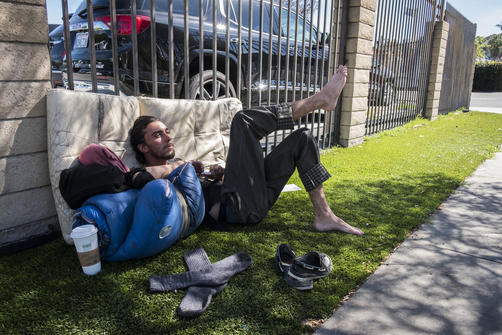 On most nights, Nic sleeps at this location near Ventura and Van Nuys Blvd., due to a soft stretch of astroturf that extends from a parking lot.