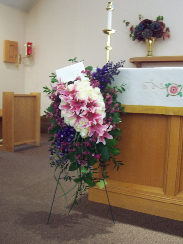 Standing Spray Funeral Flowers Bella Fiore Custom Floral Design