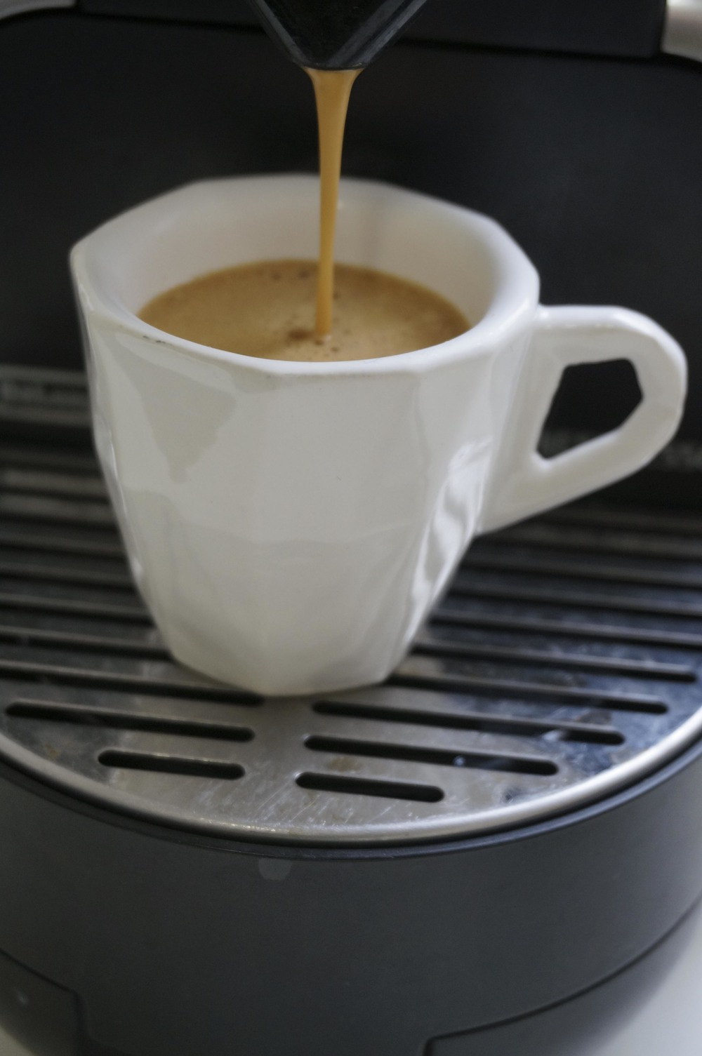 Low Resolution Cup - Espresso size = 60mm 2.35in tall.Material: Bright white glazed ceramic with a glossy, smooth finish. Food-safe.Smooth and rounded inside wall for easy cleaning.