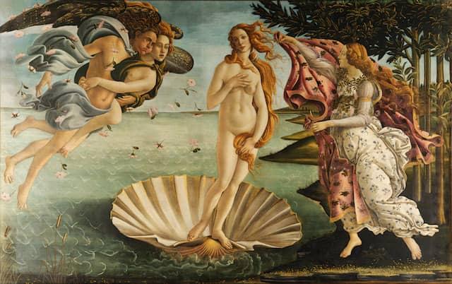 The Birth of Venus - Nascita di VenereSandro Botticelli,The Birth of Venus (c. 1484-86).Tempera on canvas.172.5 cm × 278.9 cm.Uffizi, Florence