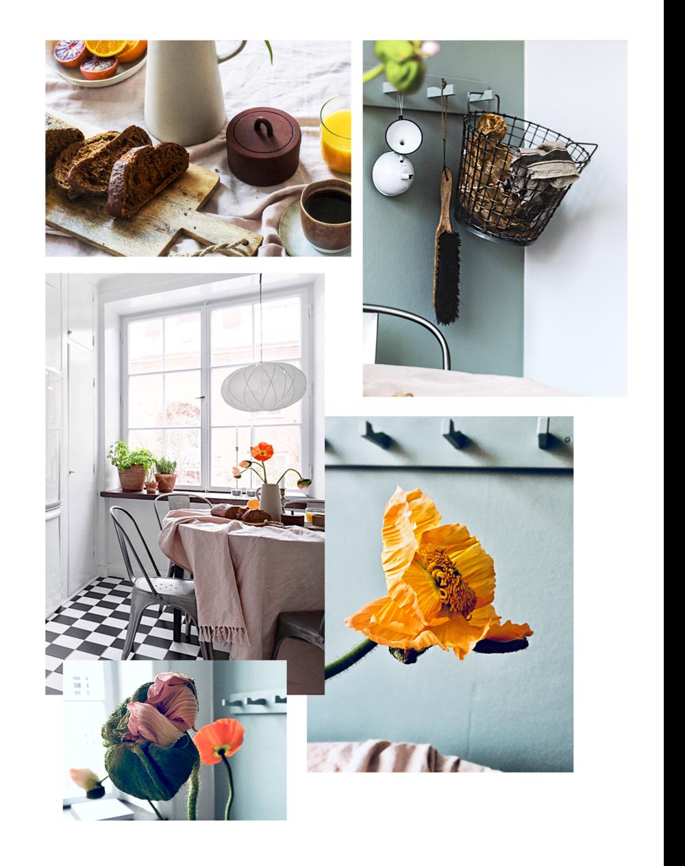 Bilderna kommer mest från mobilen men också från    Bostadsrättspecialisten    &    Studio Holm.     Stolarna =  Tolix , vintage Pia-lampa av Tore Ahlsén för Gärsnäs, linneduk från  Edblad , liten burk i gjutjärn från  Ferm Living ,  kanna i stengods  från HM Home,  knopplist från Ikea .
