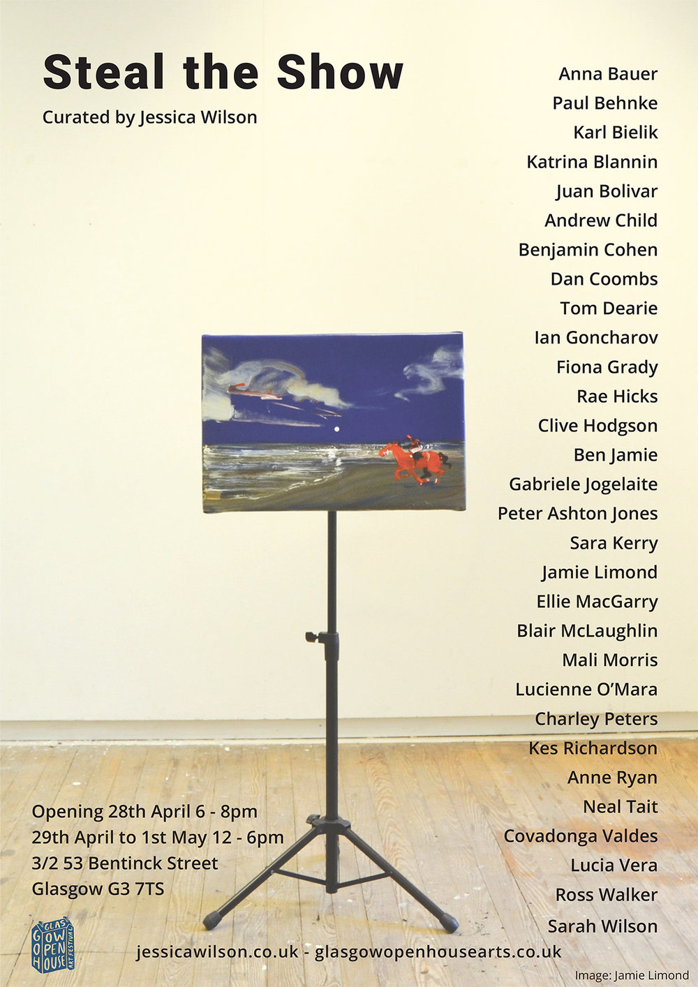 - Curated by Jessica Wilson, 'Steal the show' will be a salon style exhibition that reflects the energy, range and diversity within contemporary painting practice throughout the UK.Works by emerging and mid career artists will be selected, presenting a dynamic range of practices and dialogues taking place today.