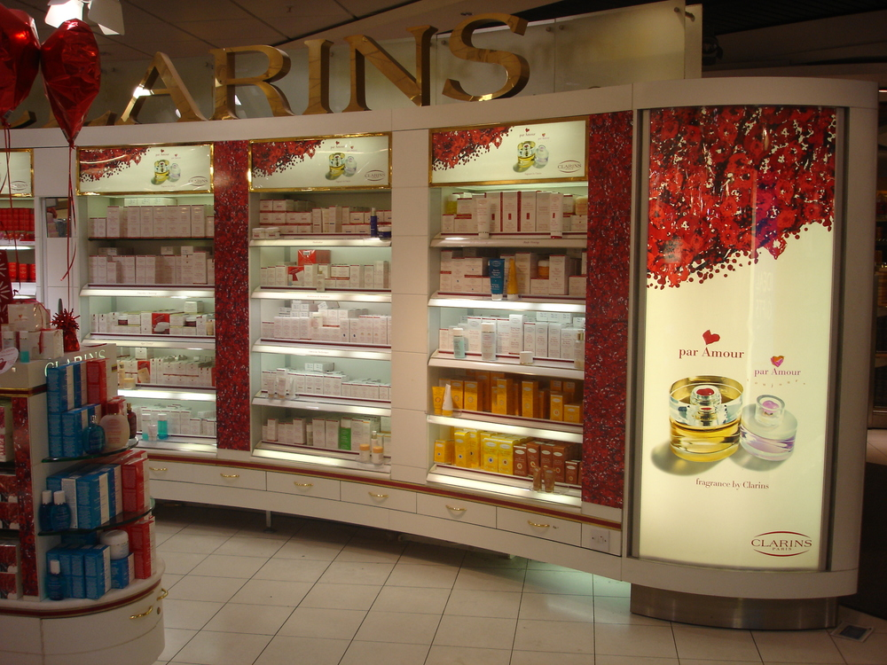 Clarins merchandising includes producing Duratrans and graphics to support product promotion in outlets nationwide.