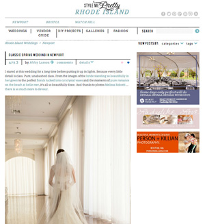 Kim & Adam's spring Belle Mer wedding was featured on Style Me Pretty.