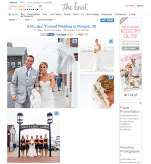 Sarah & Derek's Belle Mer wedding was featured on The Knot.