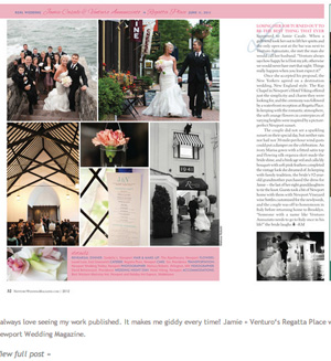 Jamie & Venturo's wedding was featured by Newport Weddings magazine.