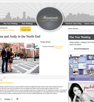 Arianna & Andy's Boston engagement session was featured by Beantown Bride.