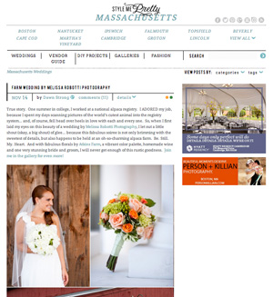 Katie & Bobby's alpaca farm wedding was featured on Style Me Pretty.