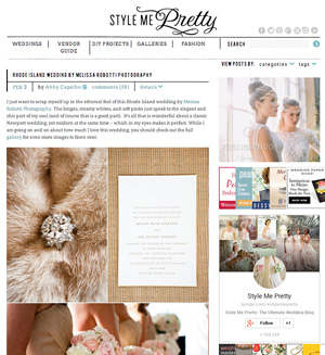 Megan & Ari's soft, romantic wedding was featured on Style Me Pretty.