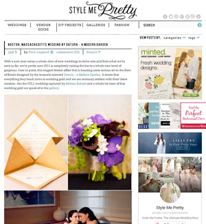Zoe & Carolina's Boston wedding, featuring unique florals, was featured on Style Me Pretty.