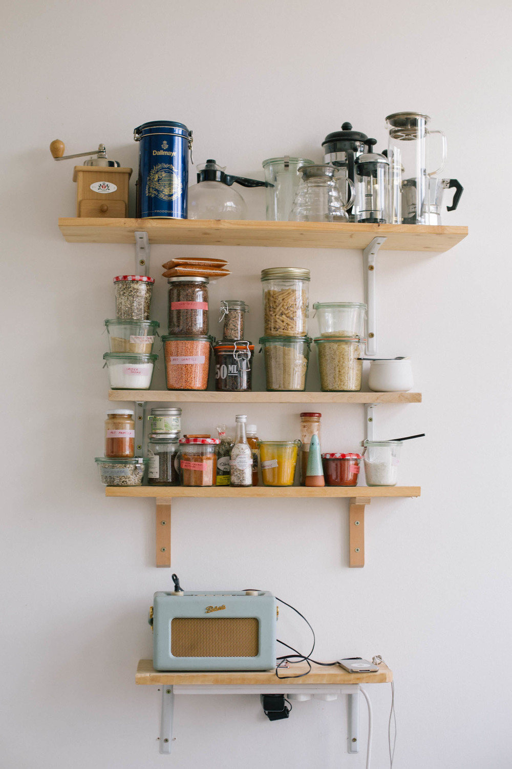 Spice shelves and a radio & charging station, built by my boyfriend.