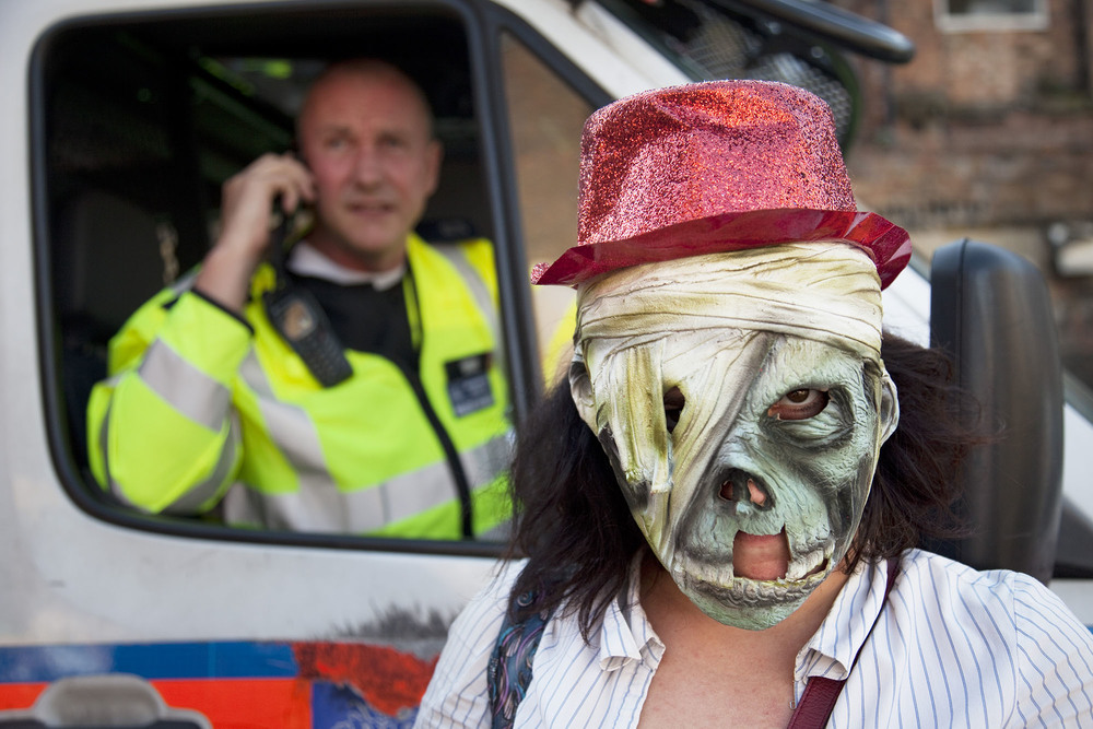 Stoke Newington Zombie-a-thon protest in North London to demonstrate against the planned opening of a large Sainsbury's supermarket.