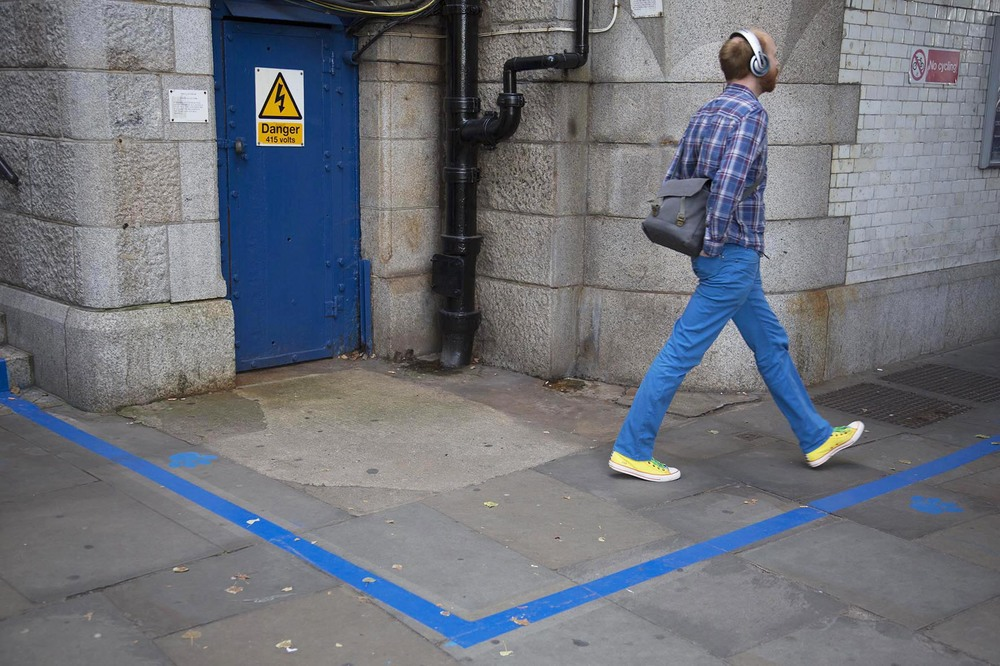 Paint your trousers blue? Or trouser coloured paint?