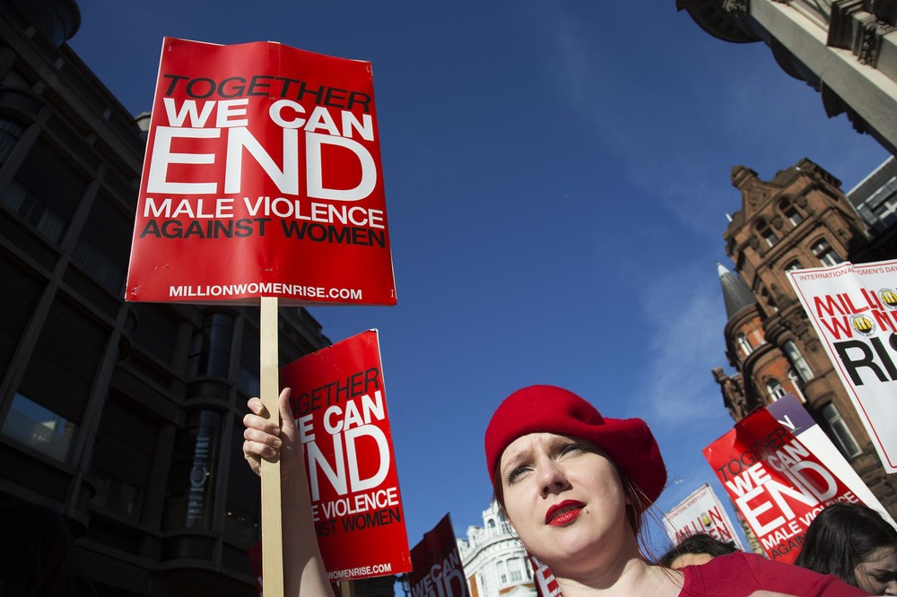 Million Women Rise march against violence towards women in London.