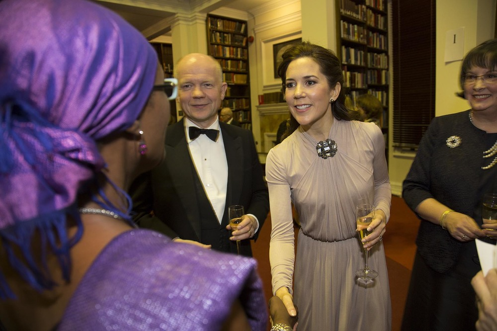 Champions for Change Awards Dinner at Banqueting House. HRH The Crown Princess Mary and RT Hon William Hague meet guests.  For the International Centre for Research on Women.