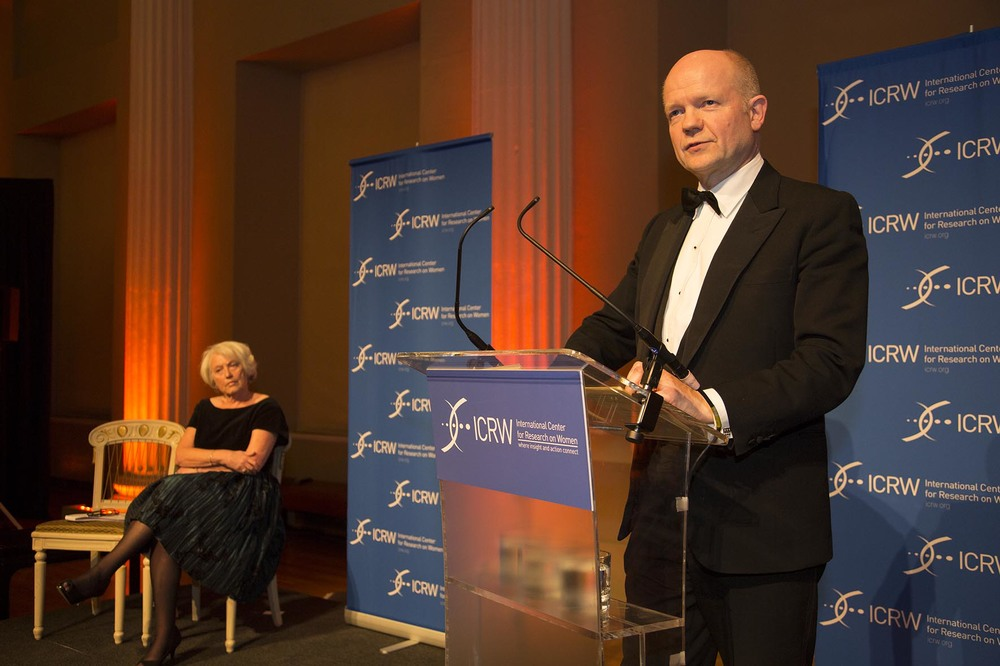 Champions for Change Awards Dinner at Banqueting House. RT Hon William Hague gives keynote address.  For the International Centre for Research on Women.