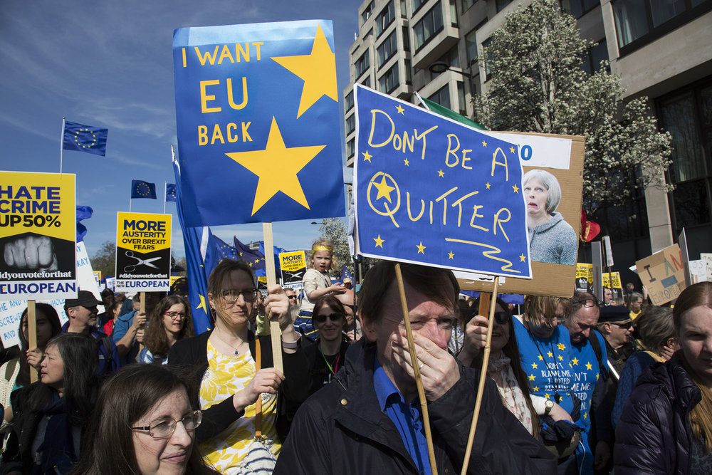 Thousands of people protest in the Unite for Europe March on Parliament against Brexit demonstration on 25th March 2017.