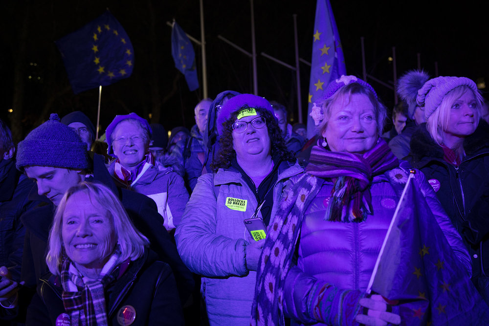 Remainers await the result on the day of the first 'meaningful vote' when MPs will back or reject the Prime Minister's Brexit Withdrawal Agreement on 15th January 2019.