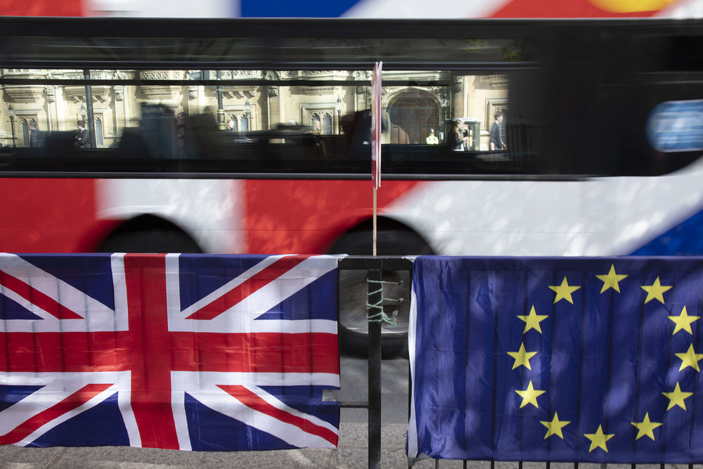Red, white and blue and stars in Westminster on 26th March 2019 in London, as the date of the UK leaving the European Union is extended.