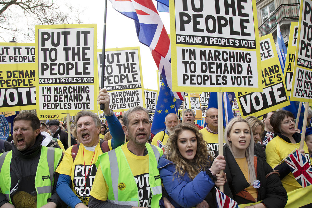 Put It To The People march for a People's Vote on 23rd March 2019 in London. With less than one week until the UK was supposed to be leaving the European Union, an estimated 1 million protesters gathered with the aim to secure a public a vote on the final Brexit deal.