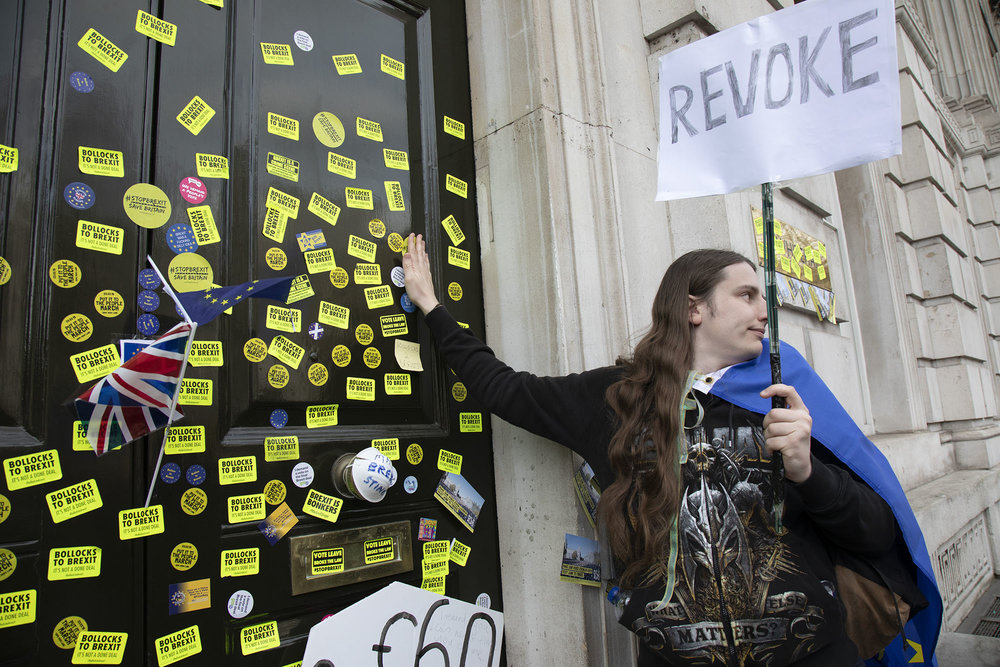 Cabinet Office is defaced with Bollocks to Brexit stickers during the Put It To The People march for a People's Vote on 23rd March 2019 in London. With less than one week until the UK was supposed to be leaving the European Union, an estimated 1 million protesters gathered.