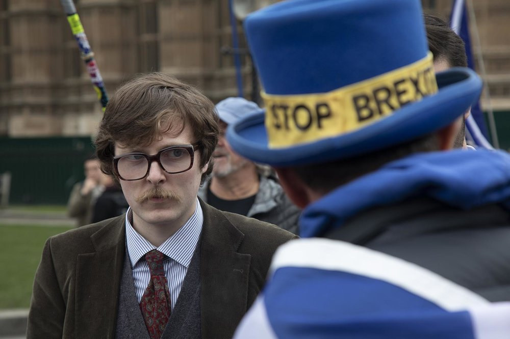 Anti Brexit, protester debates with Leave supporters in Westminster as the leader of the opposition and the Prime Minister continue talks to solve the Brexit Withdrawal Agreement on 13th April 2019.