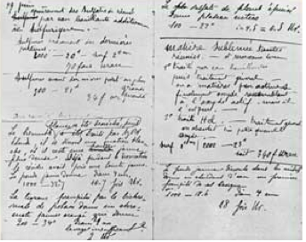 A page from the Curies' lab note- book, showing Pierre's handwriting mixed in with Marie's as they worked together.