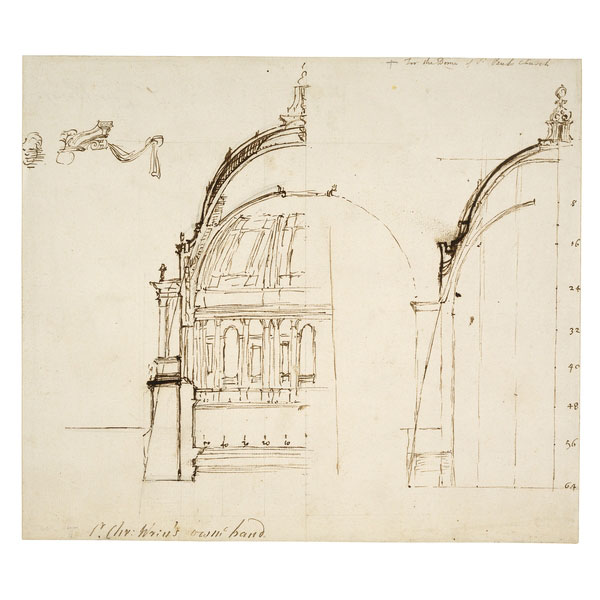 One of Christopher Wren's early drawings of the dome shows his design of the triple-dome with calculation and the thrust lines passing through the abutments.
