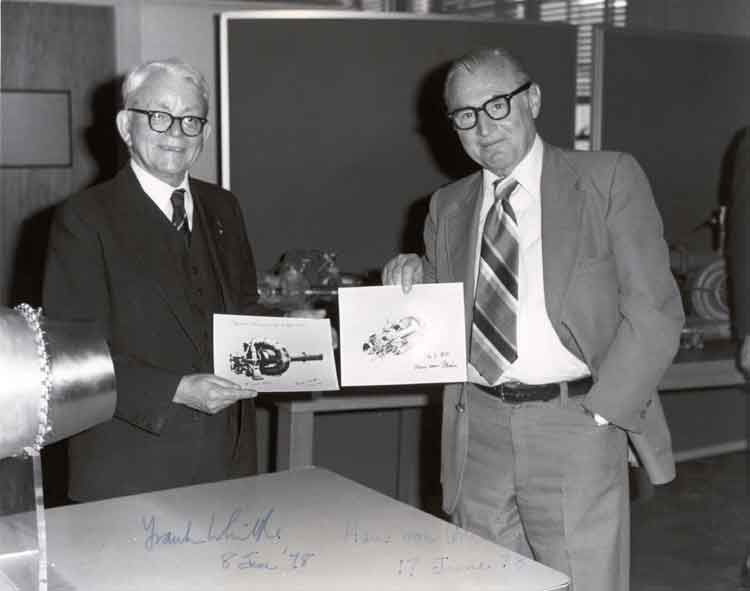 Photo Courtesy U.S. Air Force (AFRL/AFMC) - About the Photo: Sir Frank Whittle (left) and Dr. Hans von Ohain, AFRL's chief propulsion scientist compare drawings of their unique patented turbine engines during an historic first meeting in Wright-Patterson's Bldg. 18, May 3, 1978. Both are recognized as the co-inventors of the jet engine but served on opposite sides during World War II.
