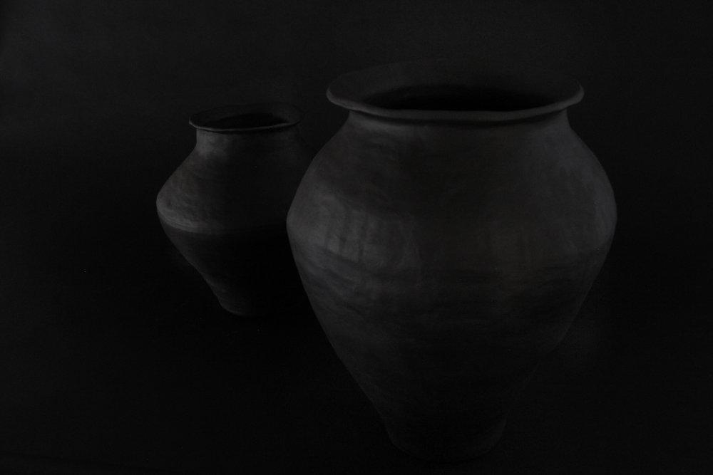 Urn I & II, 2018  Unglazed Black Stoneware