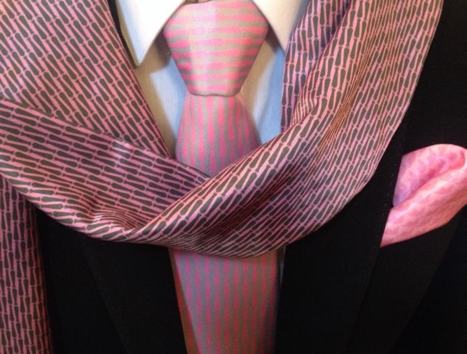 3 Styles - PinkTie Necktie, BlackTie Sports Scarf & 1st Equity Pocket Square