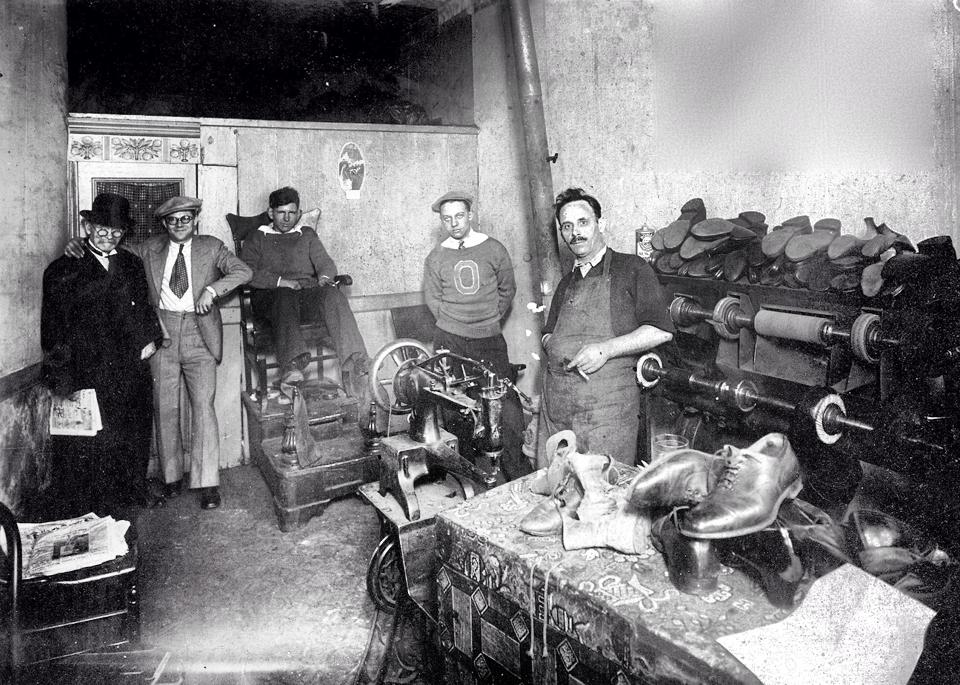 Astoria NY Circa late 1920's - Great grandfather from Sicily repairing and fashioning shoes.