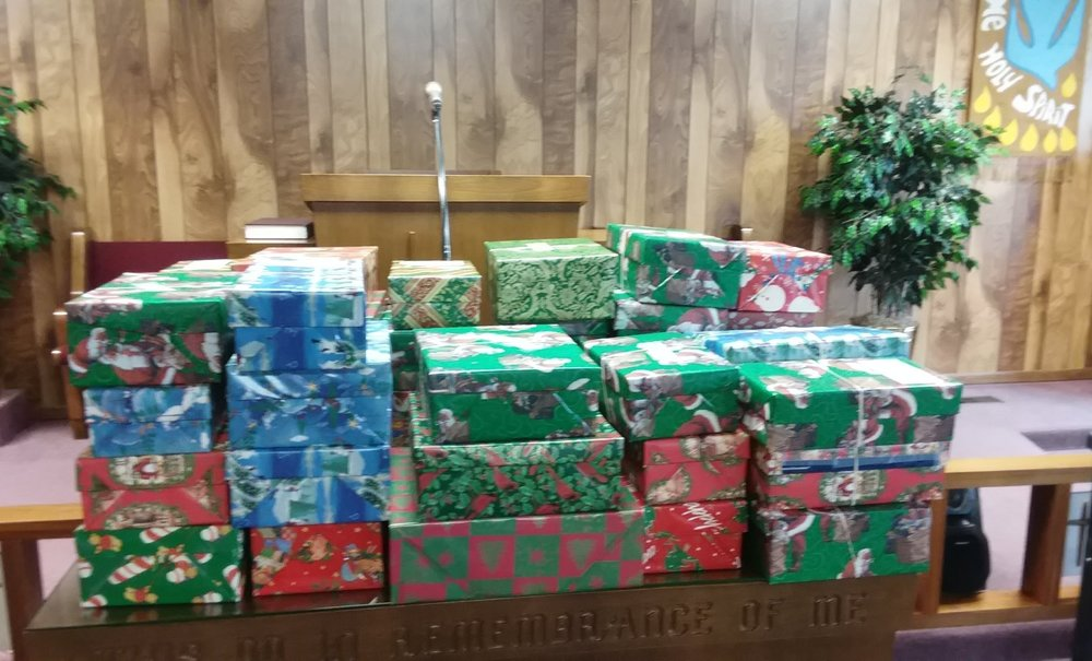 Operation Christmas Child Shoe Boxes packed by members of the Ottawa Missionary Church.