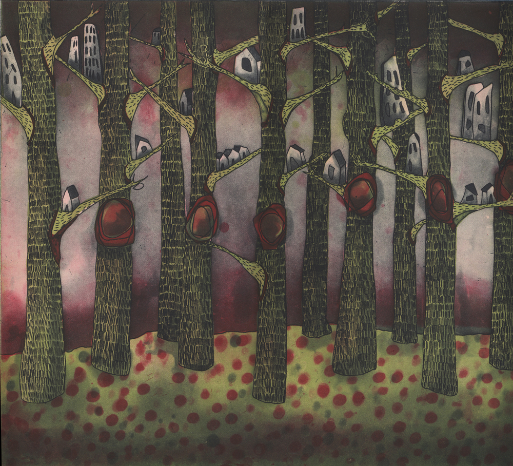 watchful nests: the trees have eyes  etching, 32 x 28 cm