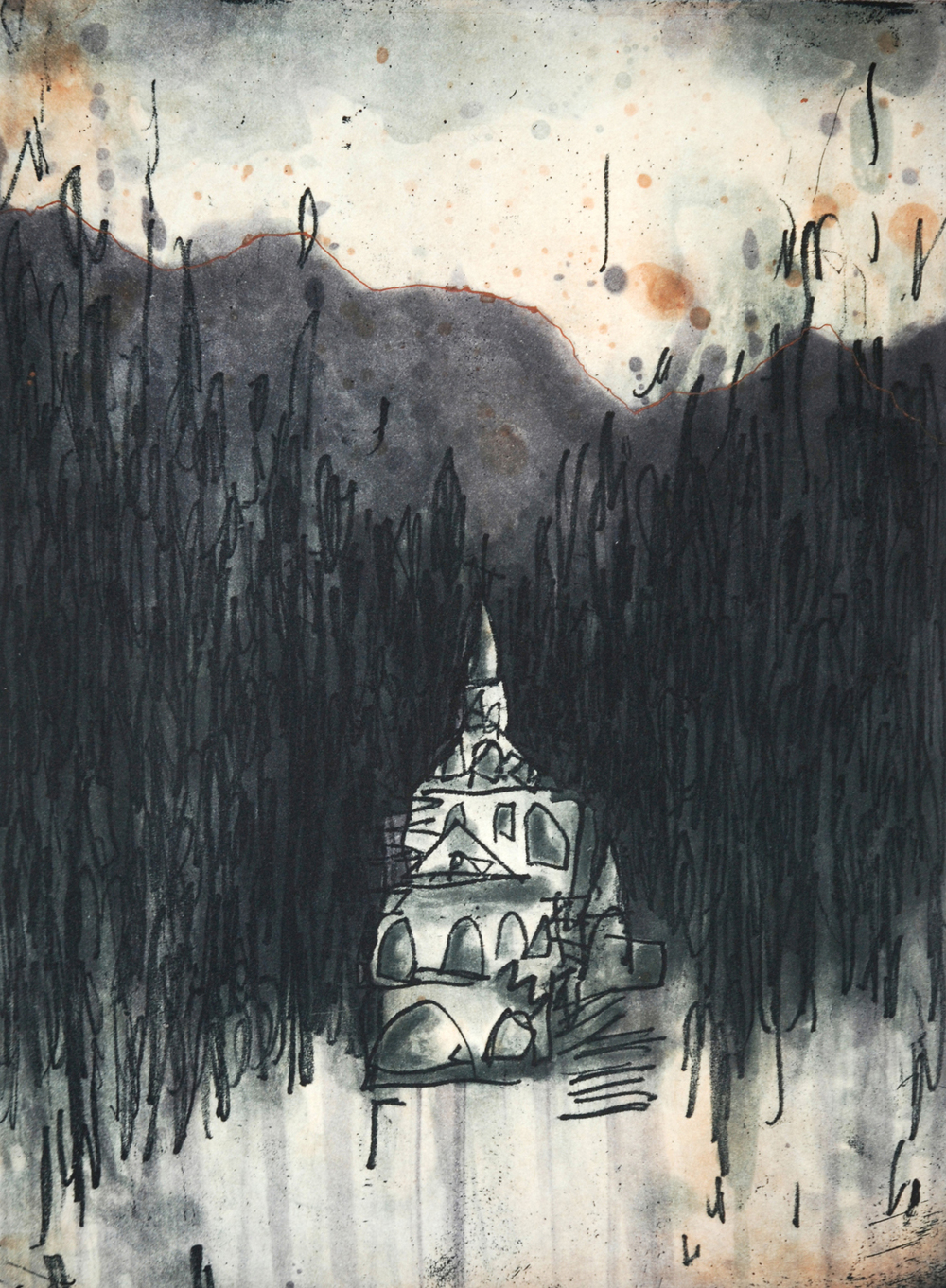 twilight in the Tatra mountains  etching