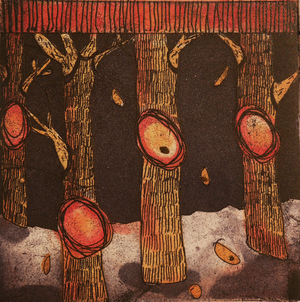 invisible cities: falling fruit  etching with gold leaf, 8 x 8 cm