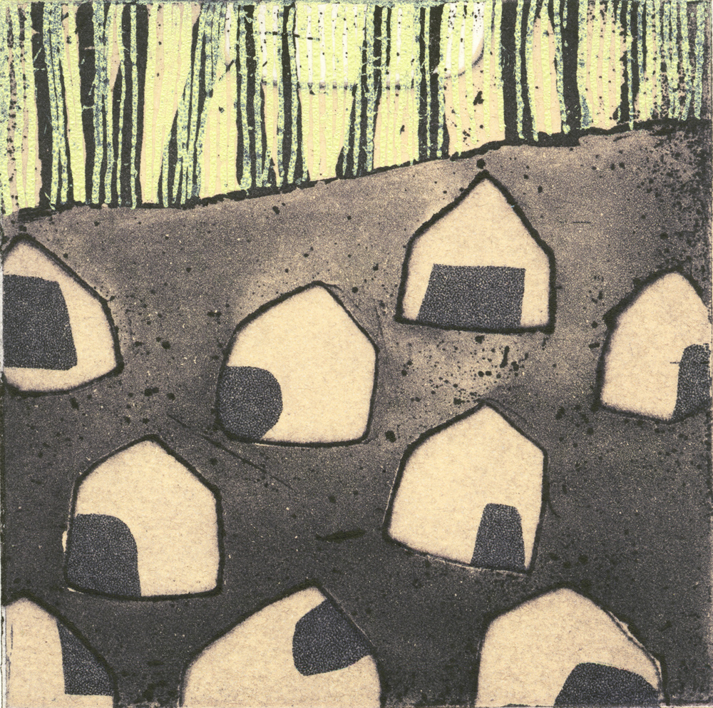 ghost estate: winter moon  etching, 10 x 10 cm