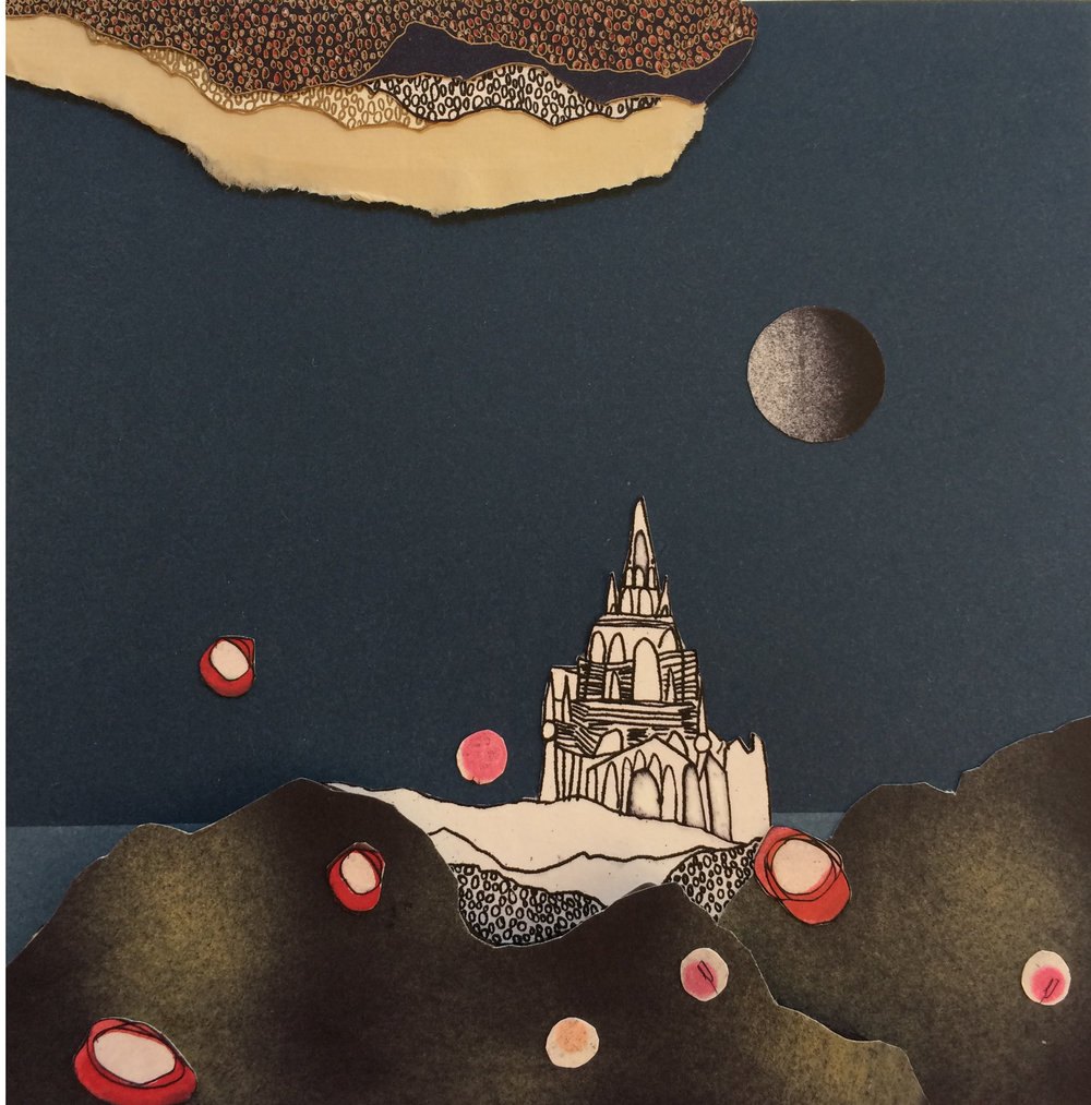 torn skies and paper palace, collaged etching and mono print, 20 x 20 cm