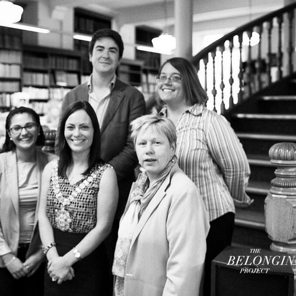 The Belonging Project team with Lord Mayor Nicholla Mallon and Linen Hall Library President Anne Davies
