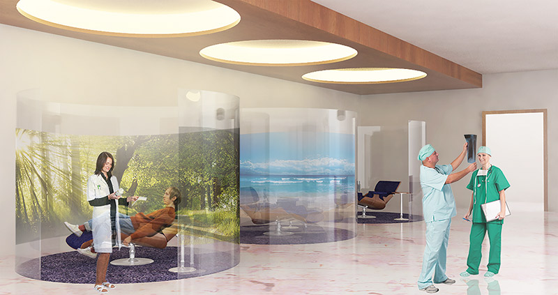 Erfani's media pod design with interactive media walls.