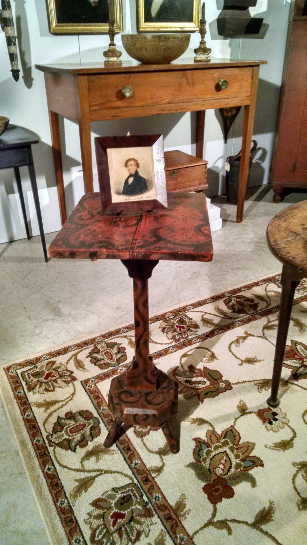 Early Paint Decorated Candle Stand