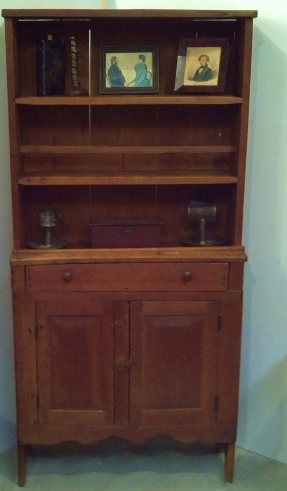Early Diminutive Walnut  Open Cupboard