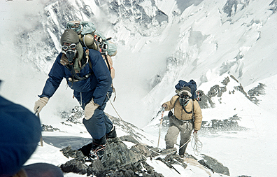 The ascent of Everest. Edmund Hillary and Tenzing Norgay approaching 28,000 feet. (  Royal Geographic Society)
